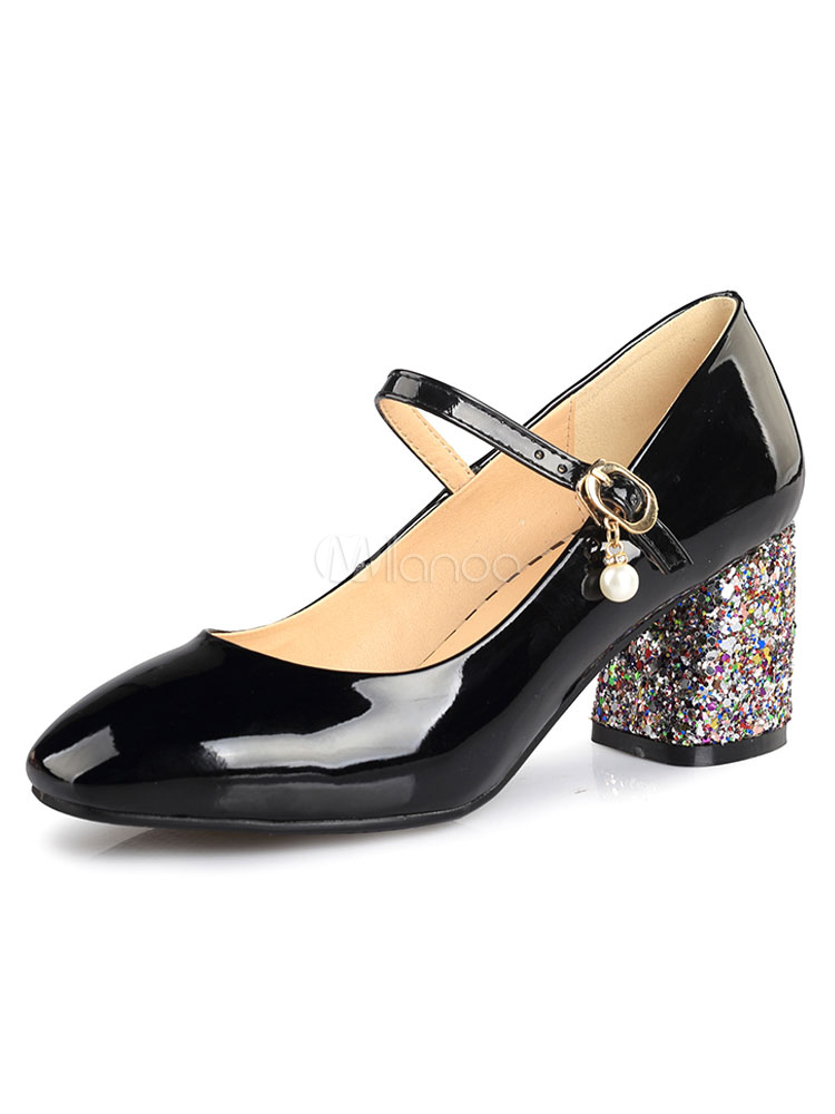Buy Mid Heel Pumps Square Toe Pearls Decor Sequined Chunky Heel Women's Black Mary Jane Shoes for $35.14 in Milanoo store