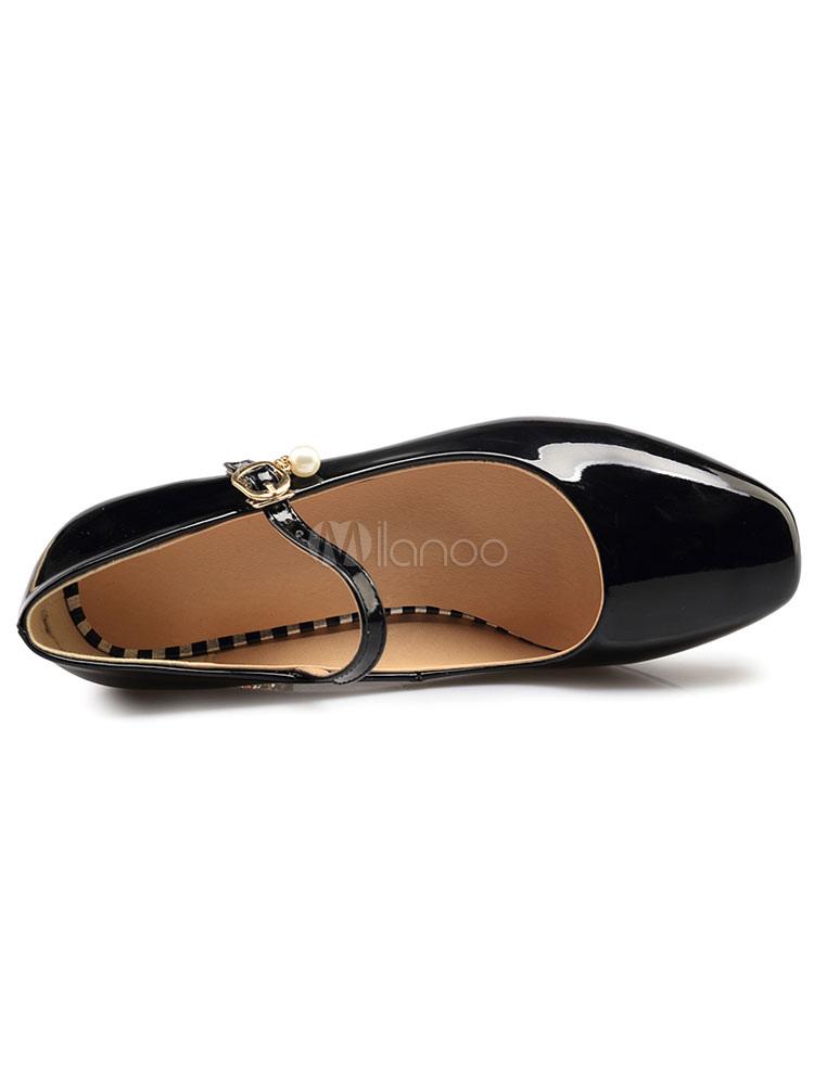 Scarpe Verniciata Pelle Con Decolletè Tacco Donna Perle Medio HRaHSq 711371cb2d6