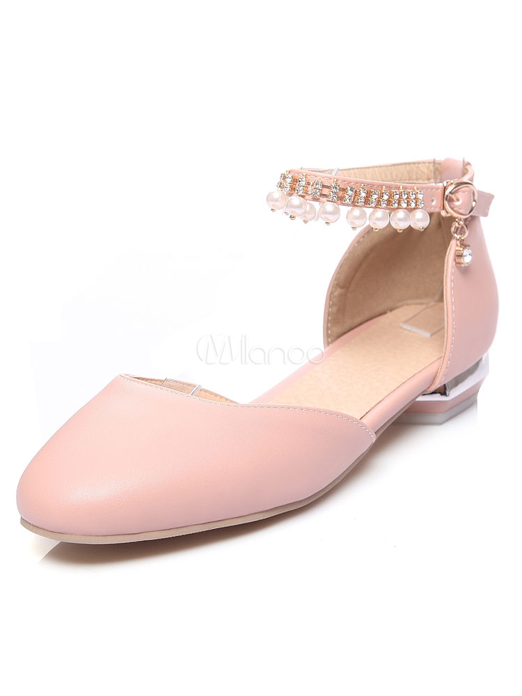 Pink Ballet Flats Square Toe Pearls Detail Ankle Strap Flat Shoes