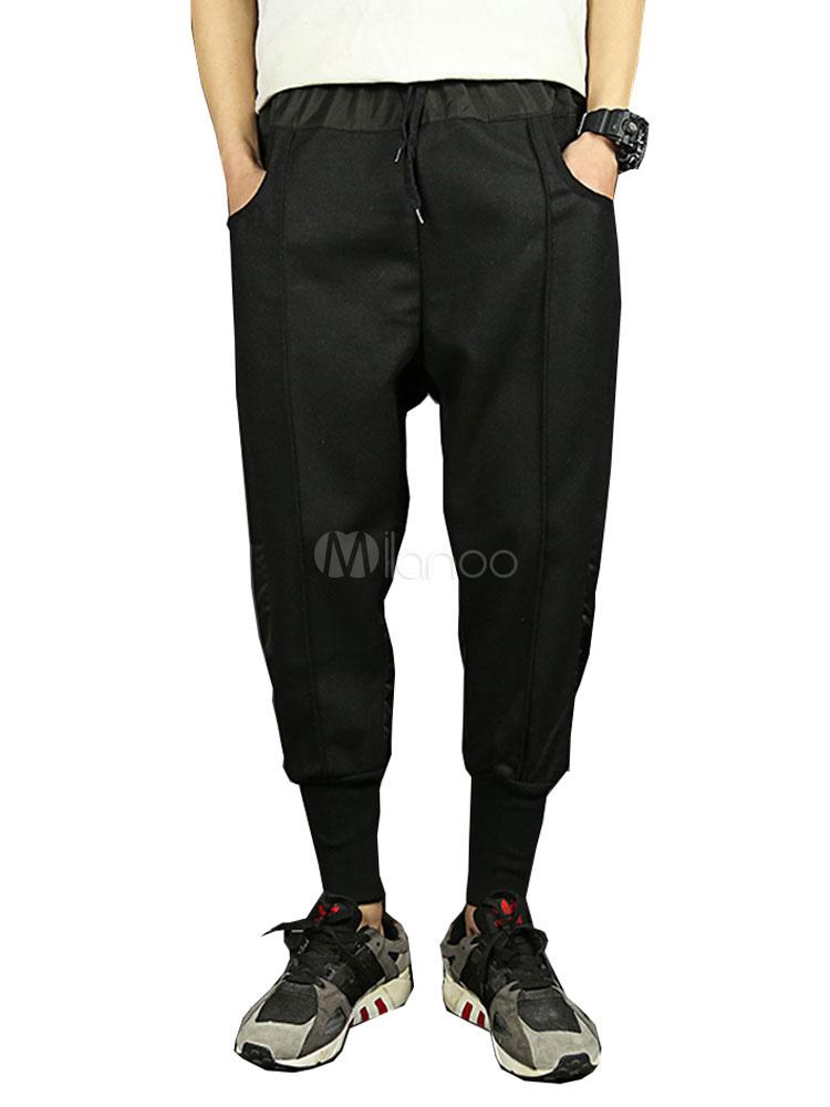04904fc9d2 Negro Pantalones de Harem 2019 para Hombre Casual de Retales Pantalones  Ajustados-No.1 ...