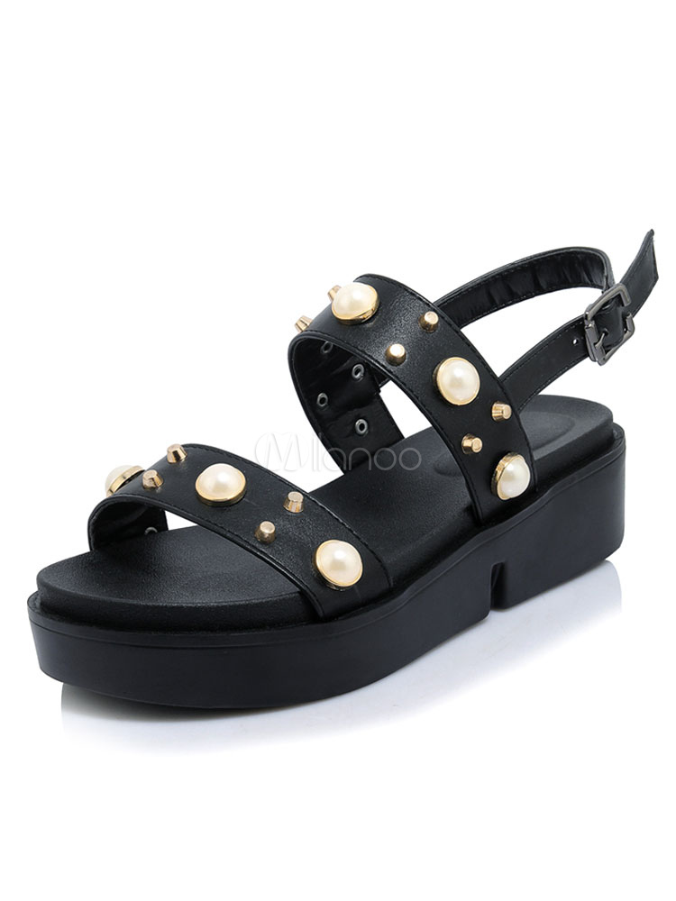 855b6e689d1 Women s Black Sandals Open Toe Pearls Beaded Flatform Sandal Shoes-No. ...