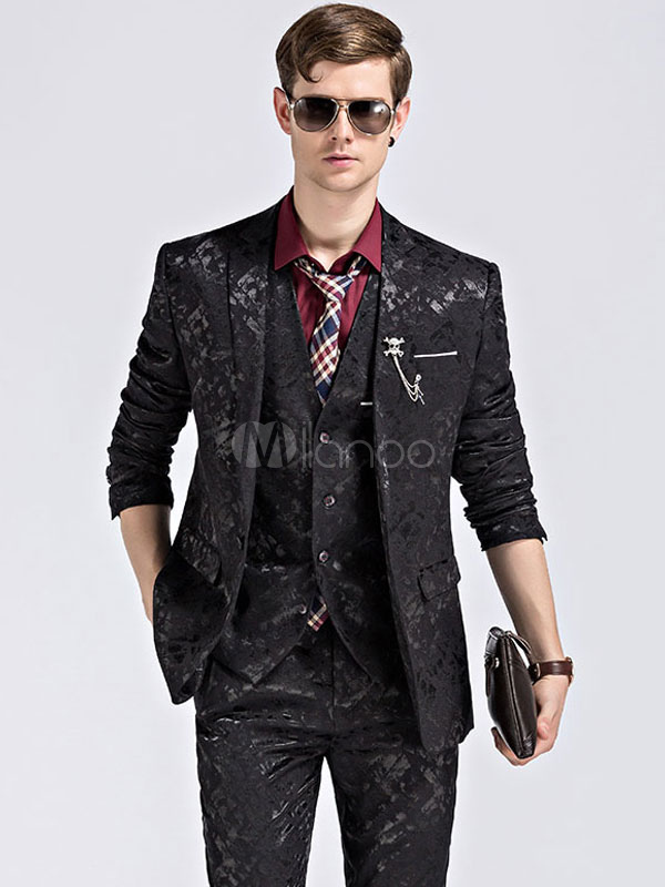 Black Tuxedo Suit Printed Wedding Suit Notch Collar Center Vent Three Piece Prom Suit