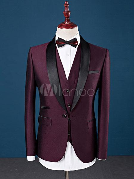Tuxedo Wedding Suit Burgundy Prom Suit Shawl Lapel Center Vent Three Piece Formal Suit