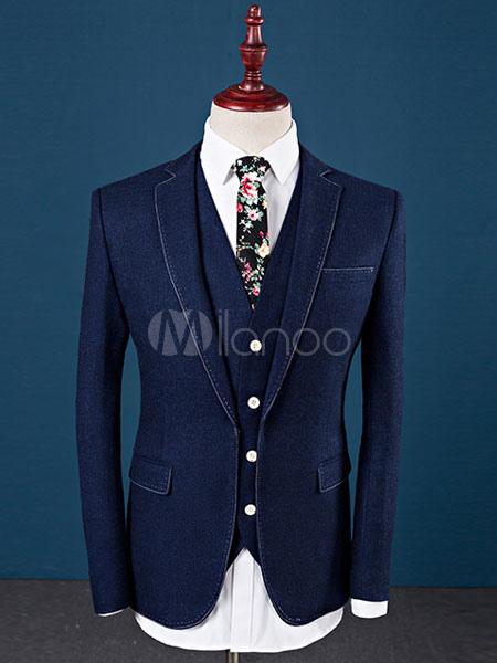 Tuxedo Wedding Suit Blue Prom Suit Notch Laple Center Vent Single Breasted Three Piece Formal Suit