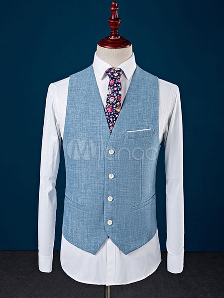 Blue Tuxedo Jacket Wedding Suit Cotton Linen Peak Lapel Center Vent ...