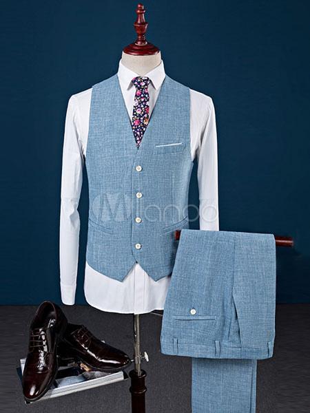 Blue Tuxedo Jacket Wedding Suit Cotton Linen Peak Lapel Center Vent ...