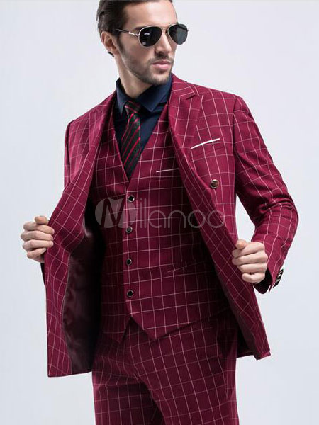 ec494ea72 Red Wedding Suit Tuxedo Check Prom Suit Double Breasted Peak Lapel Center  Vent Three Piece Formal Suit