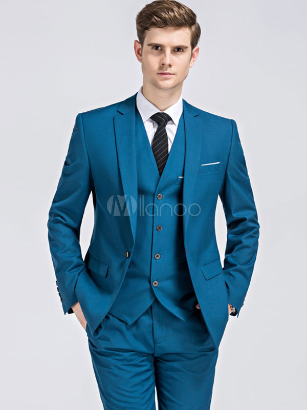 Black Tuxedo Suit Wedding Suit Notch Lapel Center Vent Single ...