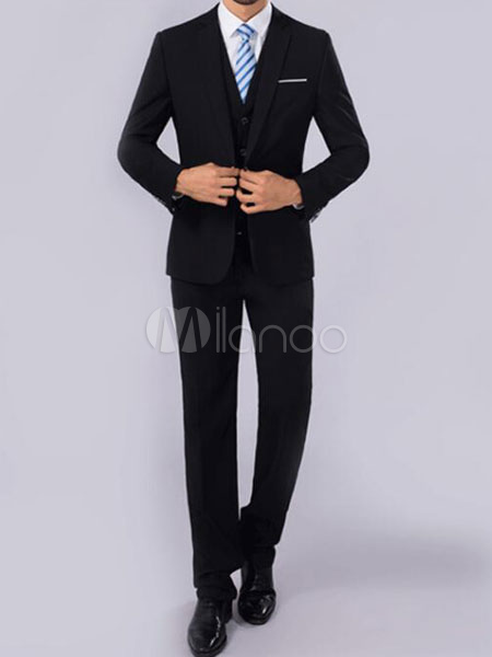 Tuxedo Wedding Suit Black Prom Suit Notch Lapel Center Vent Three Piece Groom Suit