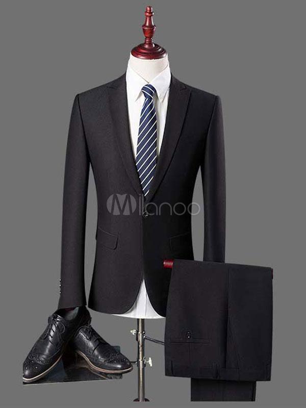 Black Wedding Suit Tuxedo Prom Suit Single Breasted Peak Lapel Center Vent Two Piece Formal Suit