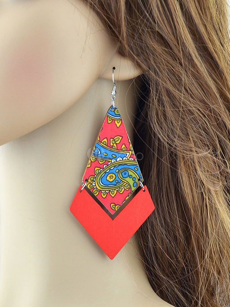 Buy Boho Dangle Earrings Red Printed Pierced Statement Earrings For Women for $2.54 in Milanoo store