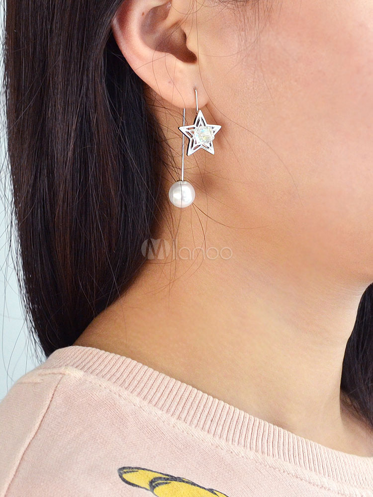 Buy Silver Drop Earrings Chic Pearls Star Shape Pierced Earrings For Women for $2.54 in Milanoo store