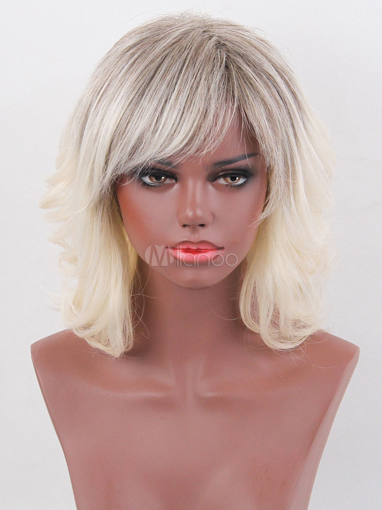 Buy Human Hair Wigs Short Curly Women's Side Swept Bangs Light Apricot Wigs for $58.87 in Milanoo store