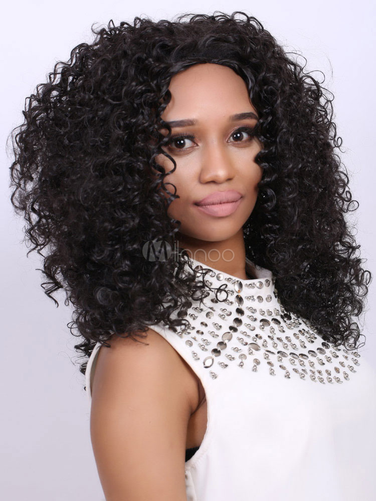 Buy Black Hair Wigs African American Long Corkscrew Curls Tousled Heat Resistant Fiber Wigs for $26.99 in Milanoo store