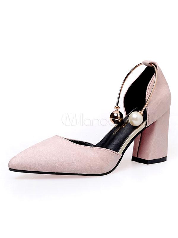 Zapatos de tacón de puntera puntiaguada Piel sintética Color liso con perlas  de tacón gordo ... 195c20b75af6