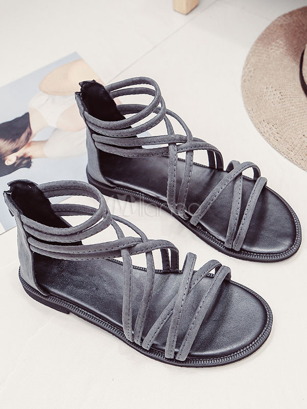 b1534a34566e ... Grey Gladiator Sandals Suede Open Toe Zip Up Strappy Flat Sandal Shoes-No.2  ...