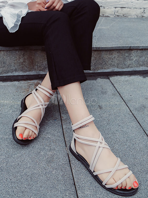 10dbac7f3bae ... Grey Gladiator Sandals Suede Open Toe Zip Up Strappy Flat Sandal Shoes -No.4