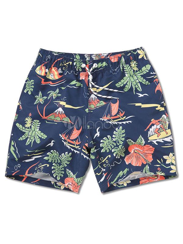 Hawaiian Board Shorts Men's Printed Deep Blue Summer Beach Swim Trunks