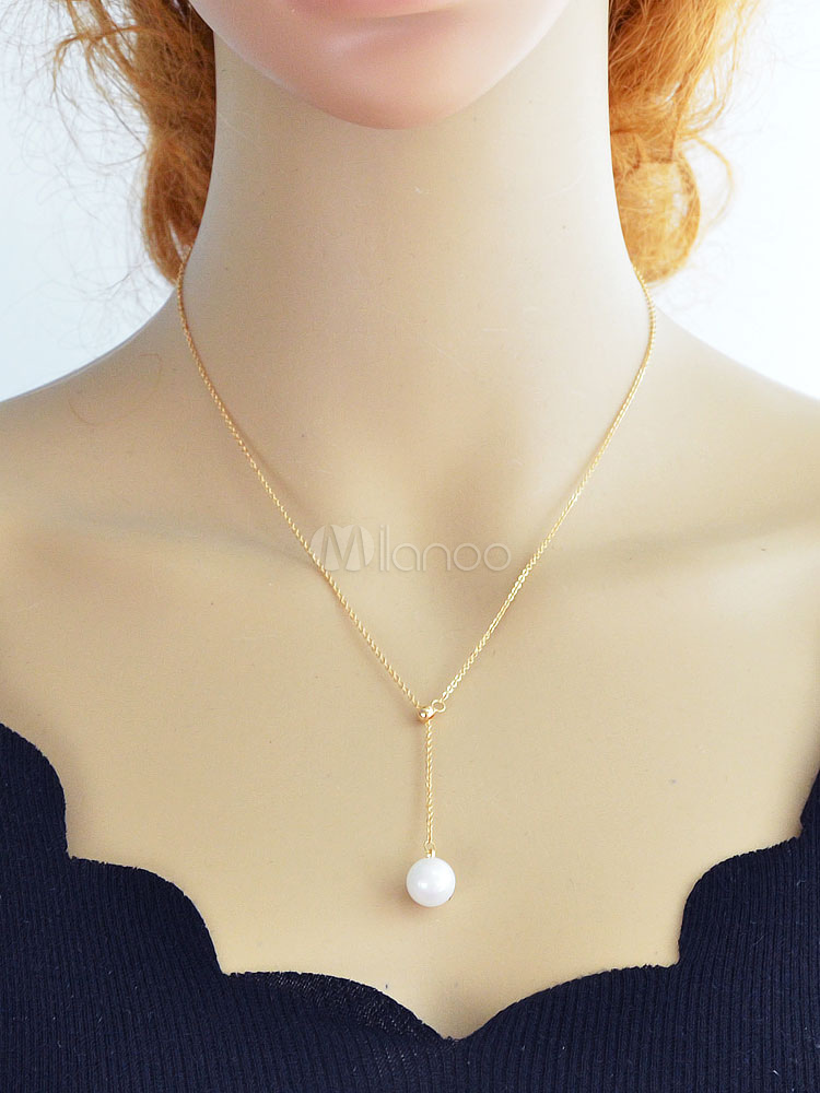 Golden Pendant Necklace Pearls Y Type Casual Necklace