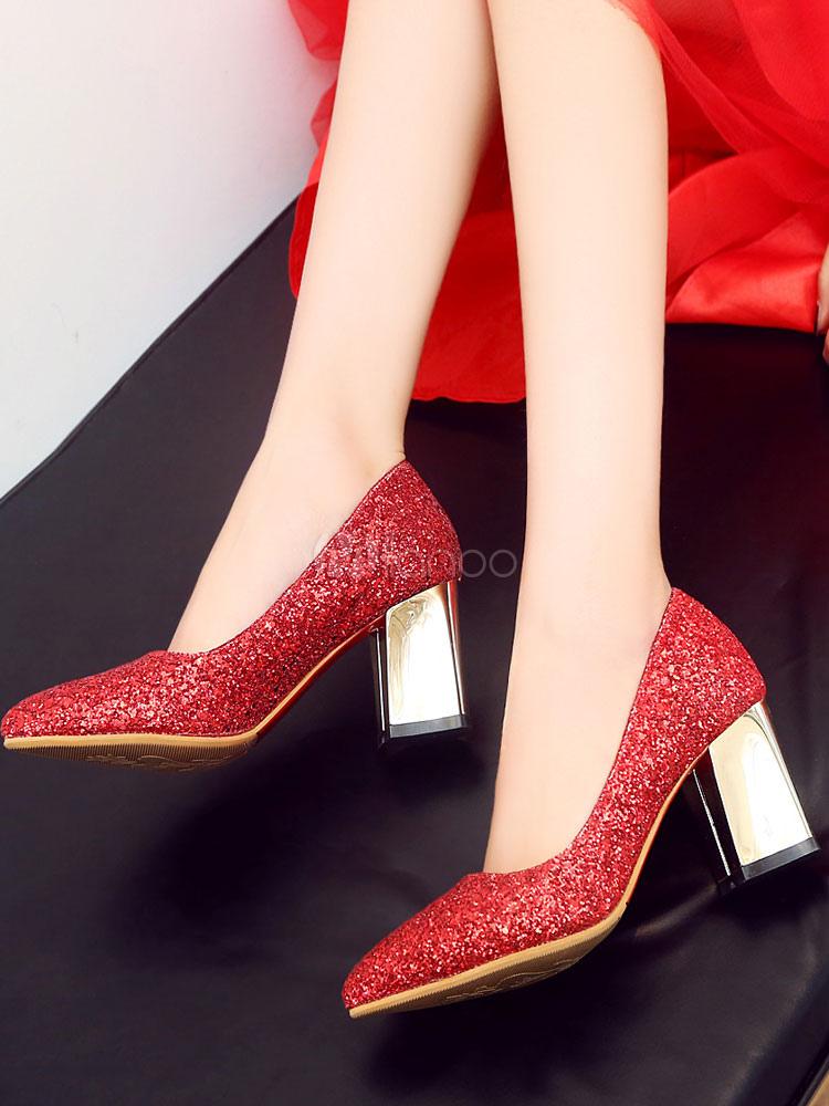 Zapatos de tacón medio estilo moderno para fiesta de tacón gordo de tela brillante de puntera puntiaguada NSf3h