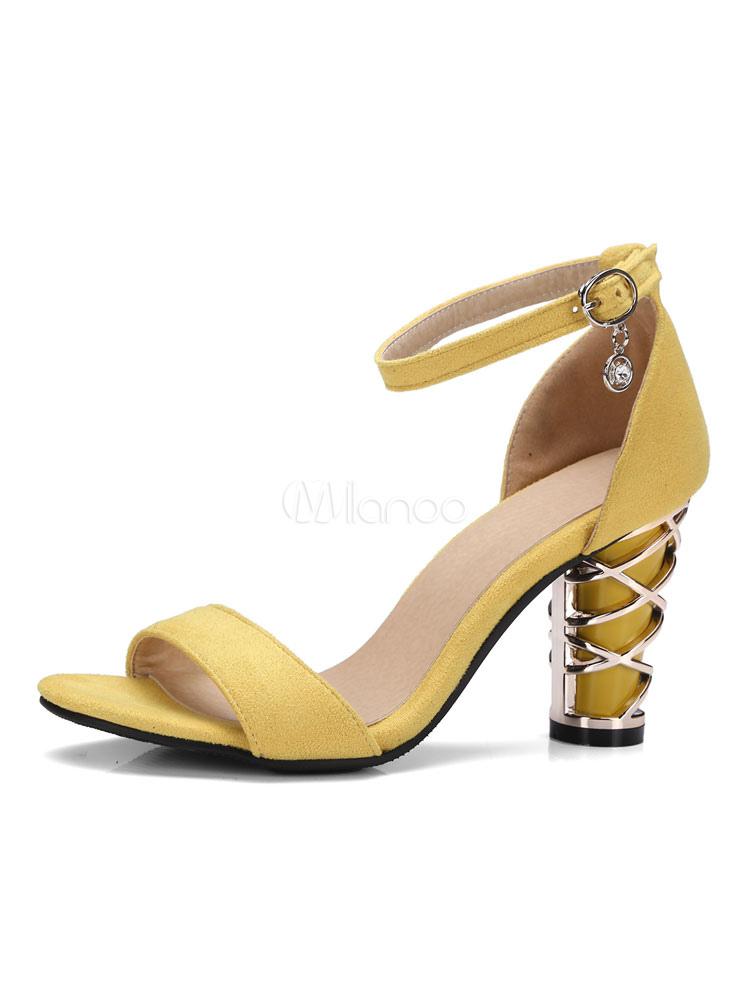Black Suede Sandals Metal Details Ankle Strap Chunky Embellished High Heel Sandals
