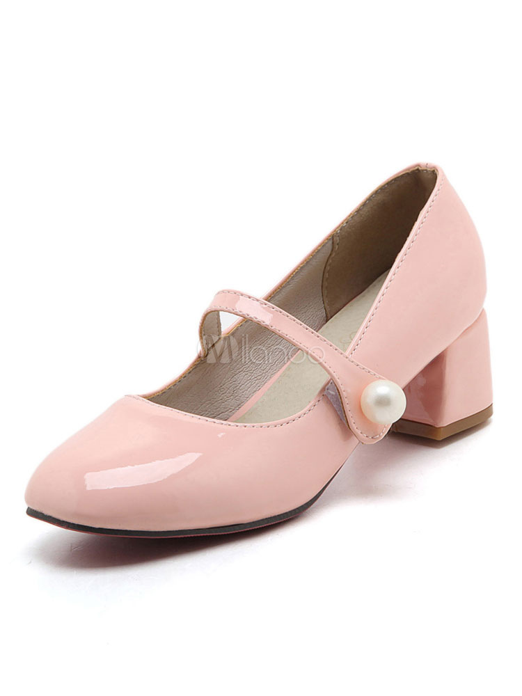 Buy Mary Jane Shoes Pink Low Chunky Heel Square Toe Slip On Pumps for $26.99 in Milanoo store