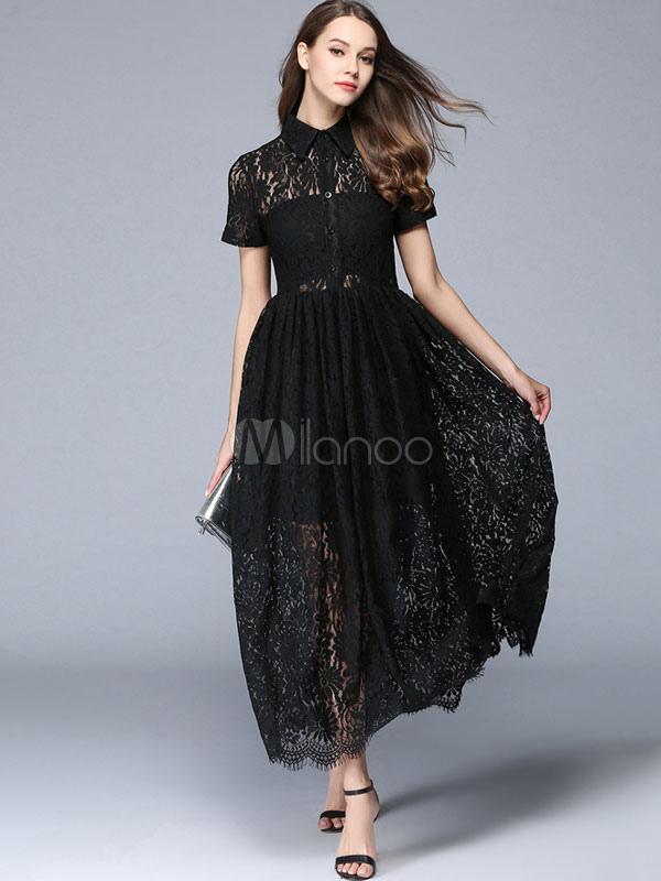 9b6f987ef085 Vestito in pizzo nero di pizzo con colletto maniche corte forato  plissettato donna -No.