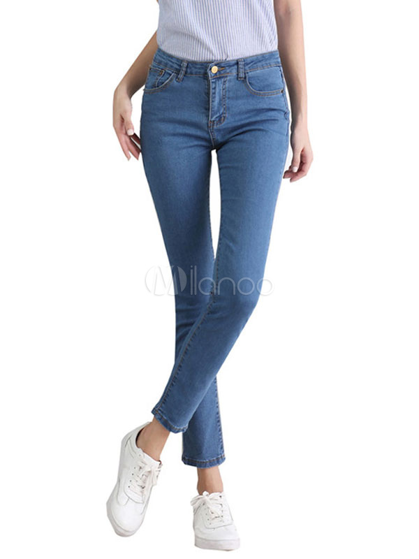 Women's Skinny Jeans Blue Shaping Cowboy Style Cropped Denim Pants