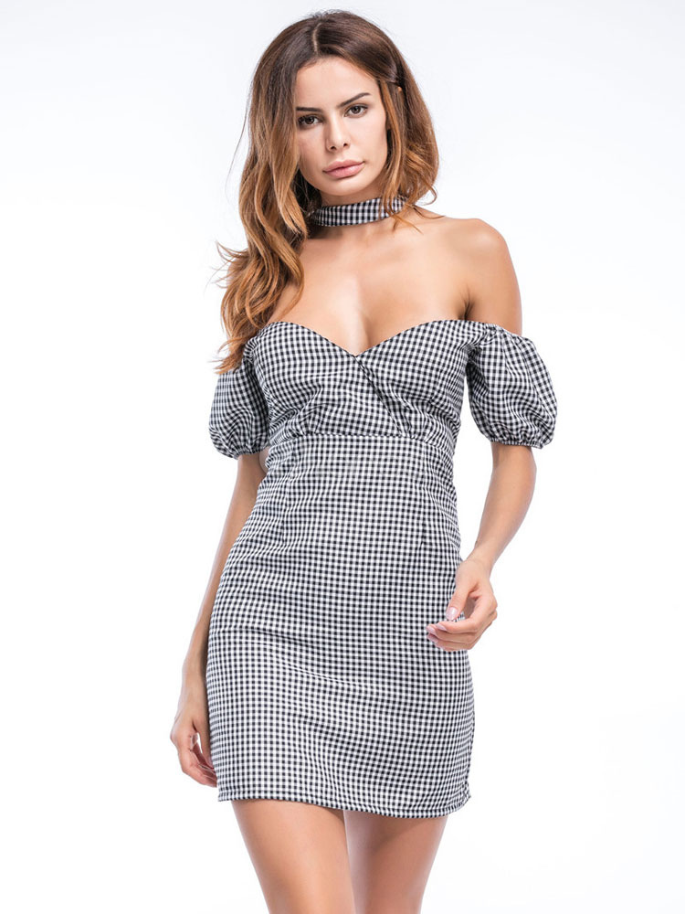 Buy Bodycon Choker Dress Off The Shoulder Plaided Sweetheart Short Sleeve Slim Fit Sheath Dress For Women for $26.99 in Milanoo store