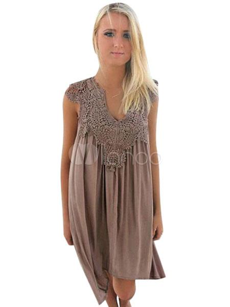 Brown Summer Dress Chiffon V Neck Short Sleeve Pleated Shift Dress For Women