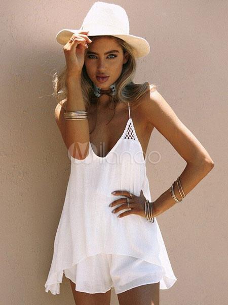Buy White Summer Dress Spaghetti Straps Sleeveless Layered Short Dress For Women for $17.99 in Milanoo store