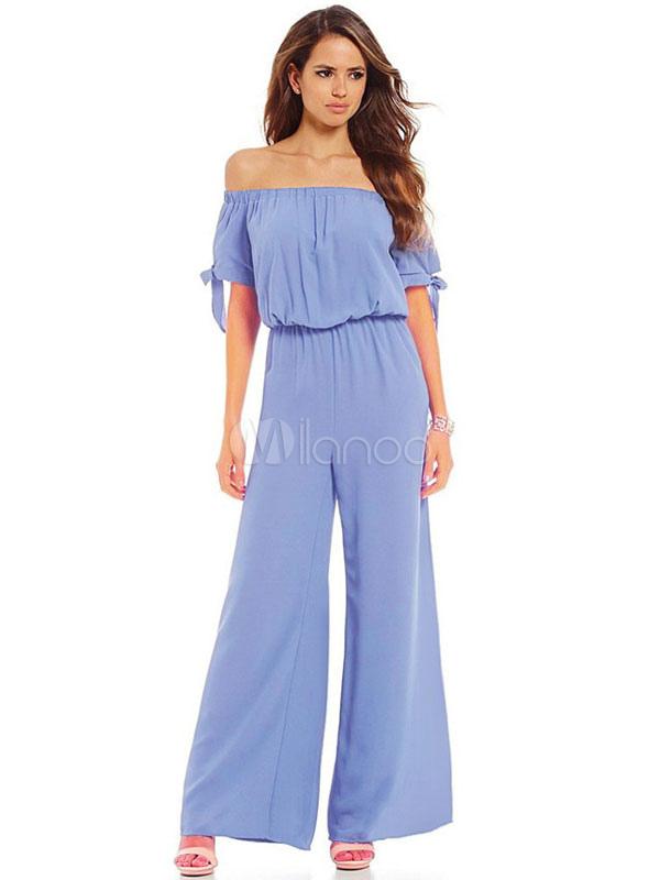Wide Leg Jumpsuits Off The Shoulder Women's Short Sleeve Light Blue Long Jumpsuit