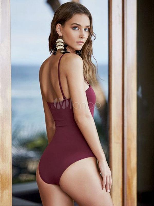 Burgundy Bathing Suits Lace Up Sleeveless Women S One