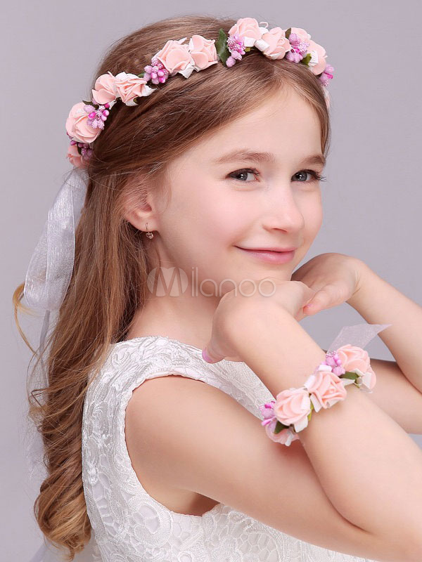 Pink Flower Crown Wedding Headpieces Ribbon Headband Hair Accessories For Kids And Bride-No.