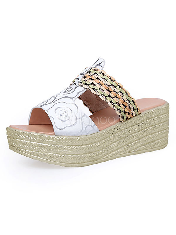 f4f674e364 White Sandal Slippers Open Toe Floral Printed Cut Out Backless Wedge Sandals-No.1  ...