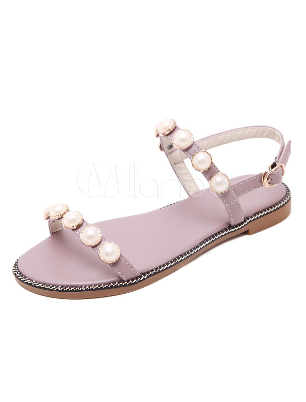 8b48d1d33e6 Pink Flat Sandals Open Toe Pearls Beaded Sandal Shoes For Women ...