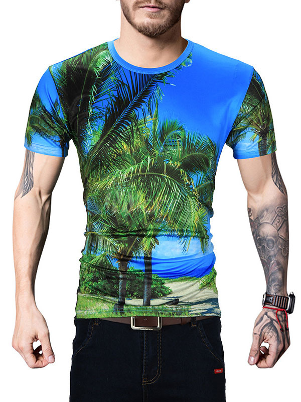 Buy Blue T Shirt Round Neck Short Sleeve Coconut Tree Printed Regular Fit Casual Top for $17.99 in Milanoo store