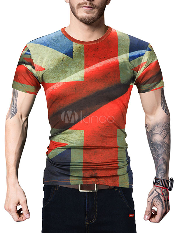 Buy Men's T Shirt Round Neck Short Sleeve Printed Slim Fit Casual Top for $17.99 in Milanoo store