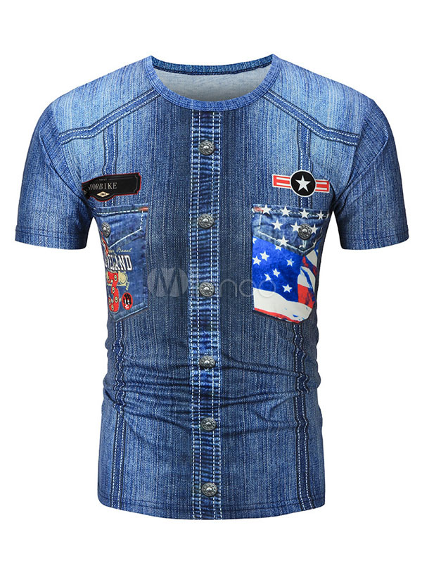 Buy Blue T Shirt Round Neck Short Sleeve Printed Slim Fit Casual Top For Men for $17.99 in Milanoo store