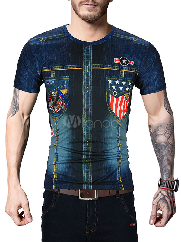 Buy Short Sleeve T Short Deep Blue Round Neck Short Sleeve Printed Slim Fit Casual Top for $18.99 in Milanoo store