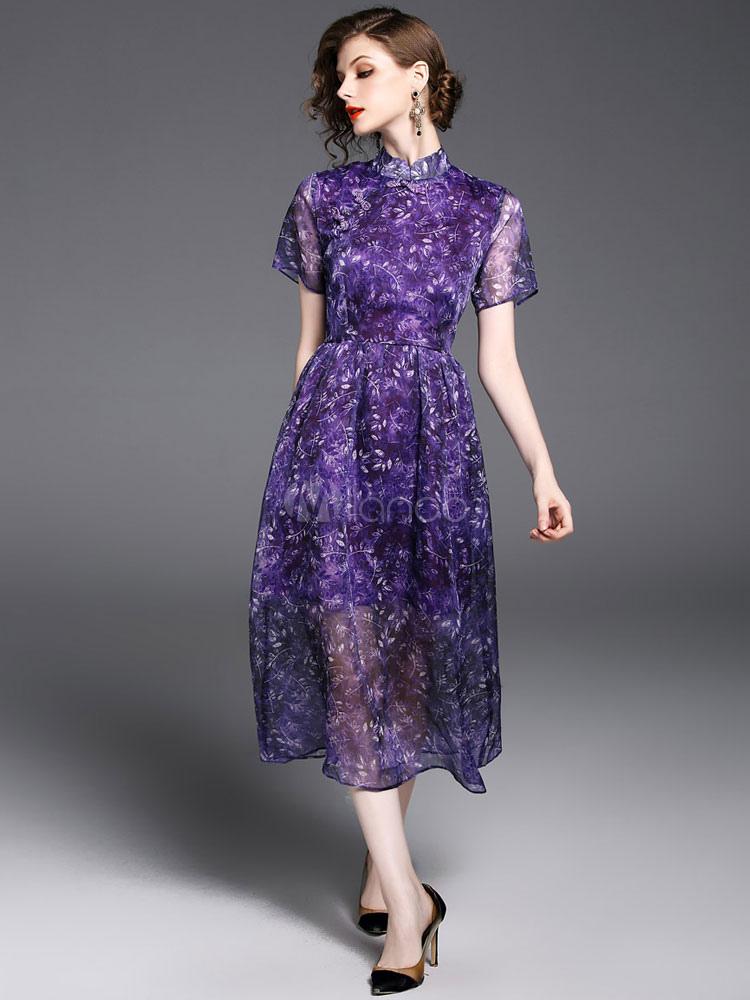 Vestido largo de seda sintética morado con escote Ilusión con ...