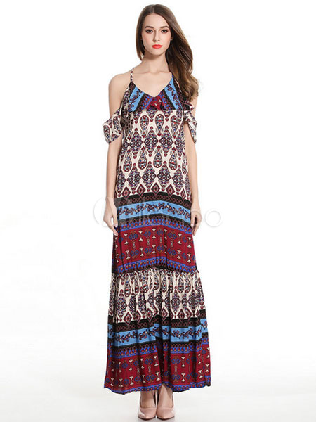 3d239320de Chiffon Maxi Dress Boho V Neck Half Sleeve Cut Out Printed Long Dress For  Women- ...