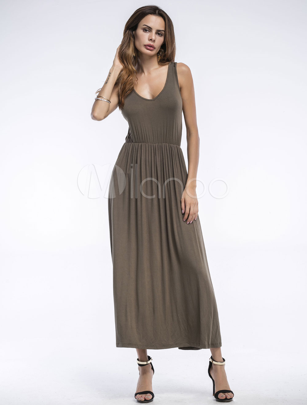 Buy Khaki Maxi Dress U Neck Sleeveless Pleated Cotton Long Dress For Women for $19.48 in Milanoo store