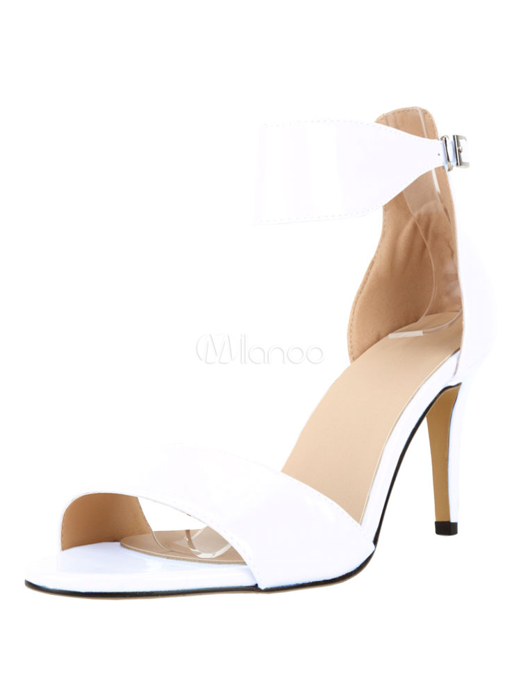 Buy High Heel Sandals Women's White Open Toe Stiletto Ankle Strap Sandal Shoes for $37.99 in Milanoo store