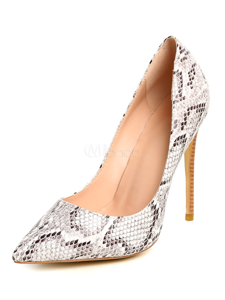 Buy Pointed Toe Pumps Women's Slip On Snake Print Pattern Stiletto High Heel Shoes for $58.49 in Milanoo store