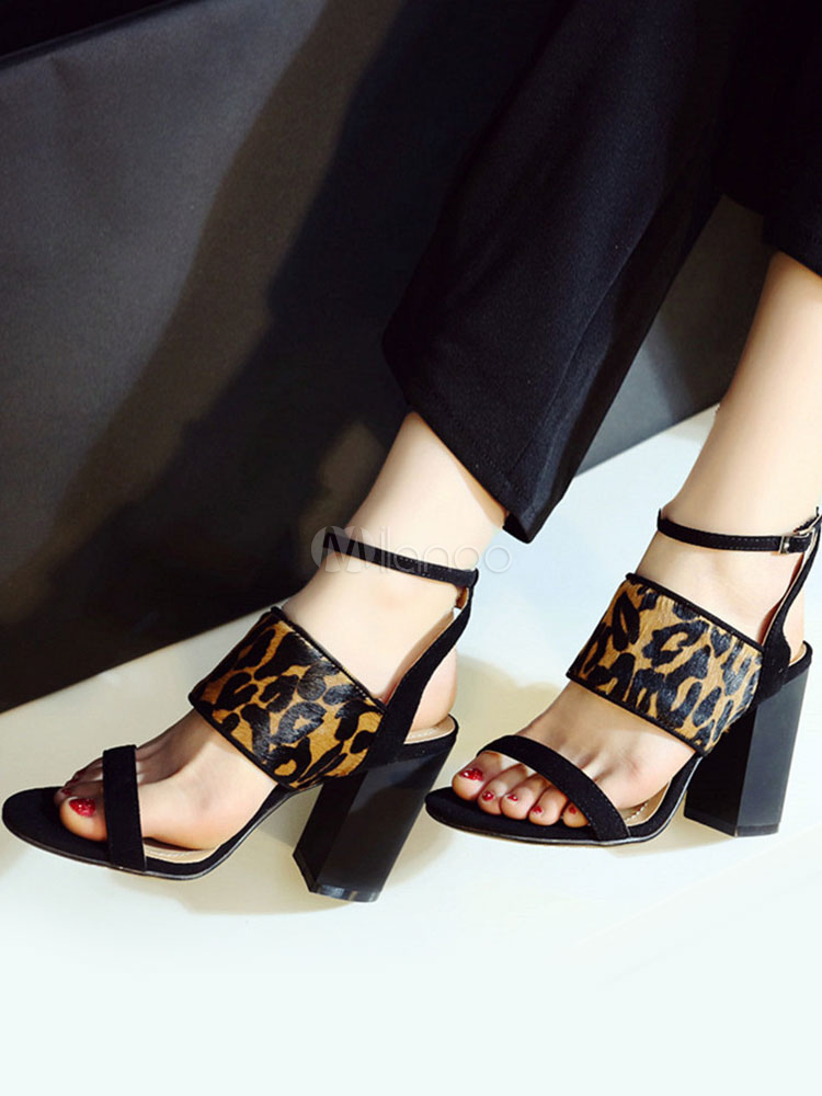 b97eb2aefb2 High Heel Sandals Black Open Toe Leopard Printed Chunky Ankle Strap Sandal  Shoes-No.