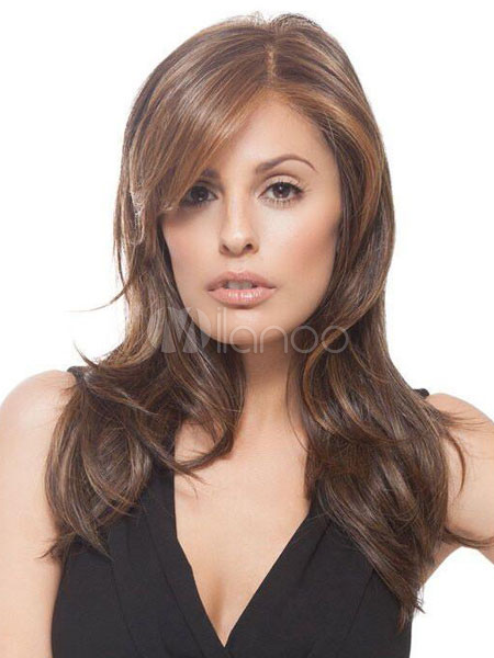 Buy Women's Hair Wigs Deep Brown Side Parting Long Wave Heat Resistant Fiber Wigs for $22.49 in Milanoo store