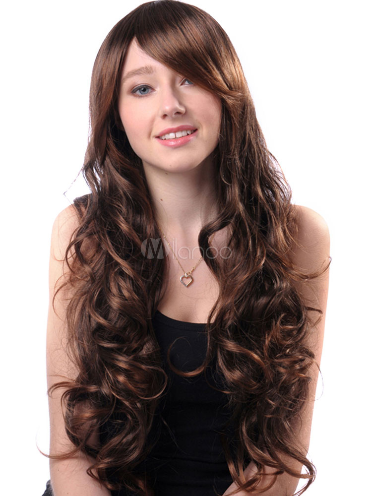 Buy Long Hair Wigs Deep Brown Side Parting Curly Heat Resistant Fiber Wigs for $17.99 in Milanoo store