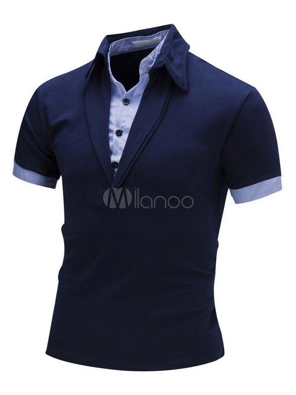 Men's Polo Shirts Short Sleeve Fake 2 Piece Dark Navy Summer Tee Shirt Tops