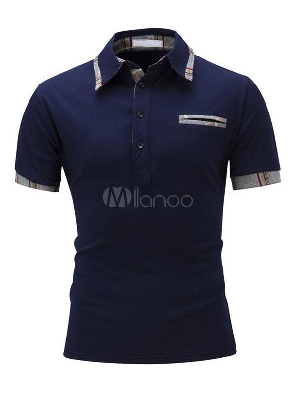 Men's Polo Shirts Short Sleeve Dark Navy Summer Tee Shirt Tops